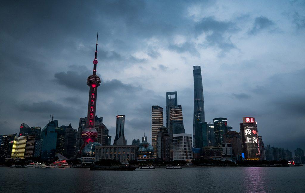 Pearl Tower soir (Shanghai, Chine)