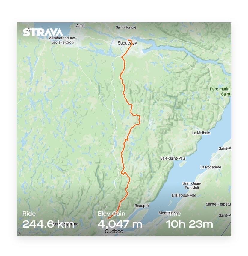 Itinéraire strava raid pierre harvey